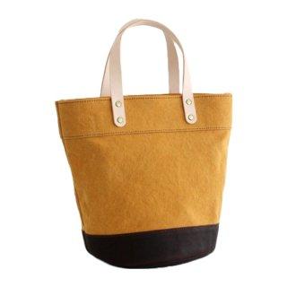 本牛革と22オンス帆布のヌメ革ハンドルバケツ型トートバッグ(マスタード/ブラウン)