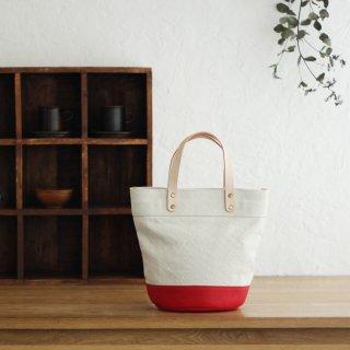 本牛革と22オンス帆布のヌメ革ハンドルバケツ型トートバッグ(オフホワイト/レッド)
