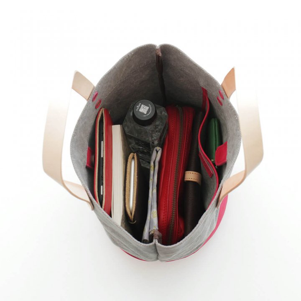 本牛革と22オンス帆布のヌメ革ハンドルバケツ型トートバッグ