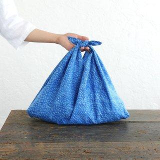 alinのあづま袋 M 50cm かごバッグに バティックあずま袋 マチ付き (雨縞/ブルー)