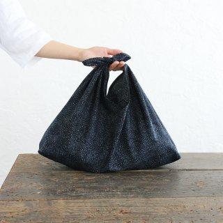 alinのあづま袋 M 50cm かごバッグに バティックあずま袋 マチ付き (銀河/ブラック)