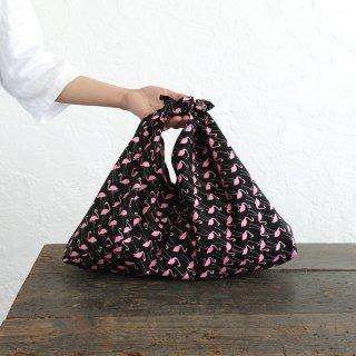 alinのあづま袋 M 50cm かごバッグに コットンあずま袋 マチ付き (スワン/ブラック*ピンク)