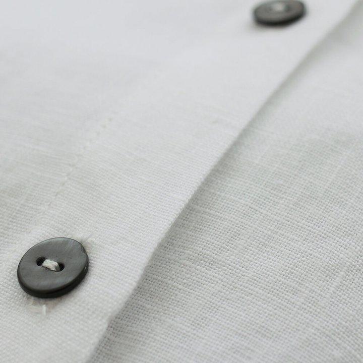 リネン シャツワンピース 前開きギャザー 2way羽織り
