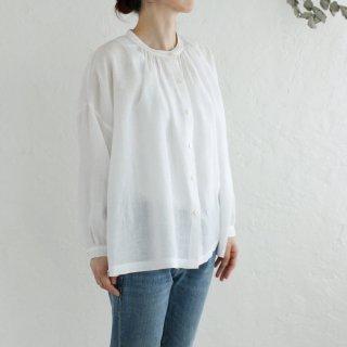 リネン ふんわり羽織りギャザーブラウス (ホワイト)