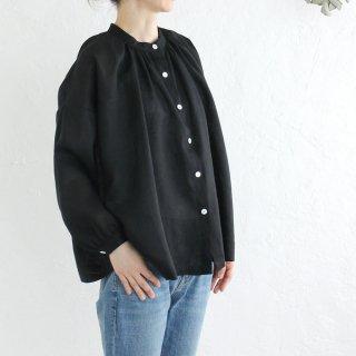 リネン ふんわり羽織りギャザーブラウス (ブラック)