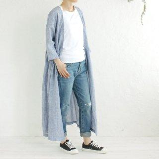 リネン カシュクール 羽織りワンピース (ブルーストライプ01)