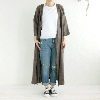 リネン カシュクール 羽織りワンピース (ブラウンストライプ)