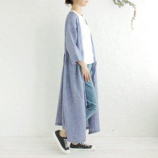 リネン カシュクール 羽織りワンピース (ブルーストライプ02)