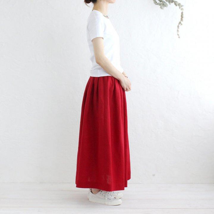 リネン タックスカート マキシ丈