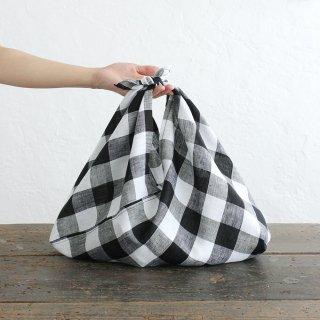 alinのあづま袋 M 50cm かごバッグに リネンあずま袋 マチ付き (ブロックチェック*ブラック)