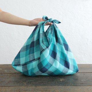 alinのあづま袋 M 50cm かごバッグに リネンあずま袋 マチ付き (ブロックチェック*ターコイズ)
