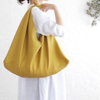 alinのあづま袋 Lサイズ 64cm 大きいショルダーバッグサイズ リネンあずま袋 マチ付き (マスタード)