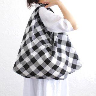 alinのあづま袋 Lサイズ 64cm 大きいショルダーバッグサイズ リネンあずま袋 マチ付き (ブロックチェック*ブラック)
