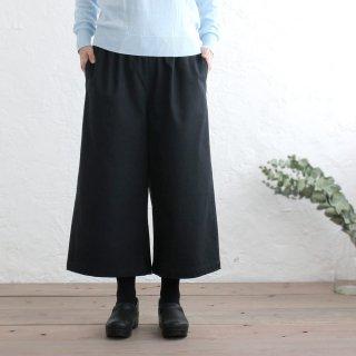 厚手コットン ワイドパンツ ゆったりサイズのキュロット (ブラック)