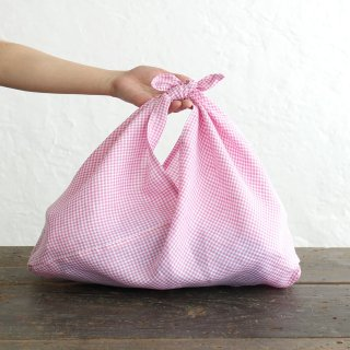 alinのあづま袋 M 50cm かごバッグに リネンあずま袋 マチ付き (ギンガムチェック/ピンク)<img class='new_mark_img2' src='https://img.shop-pro.jp/img/new/icons14.gif' style='border:none;display:inline;margin:0px;padding:0px;width:auto;' />