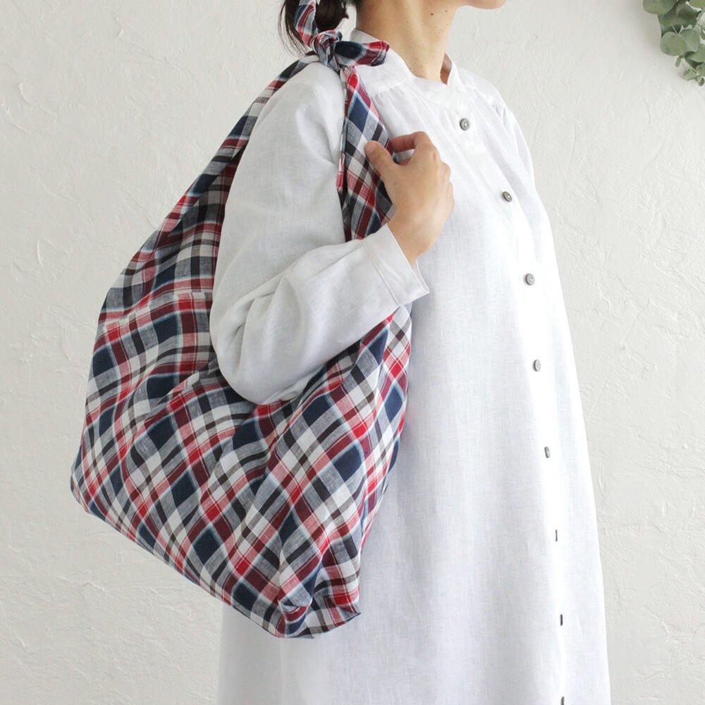 リネン あづま袋 L 64cm エコバッグ、お買い物時のレジ袋替わりにも