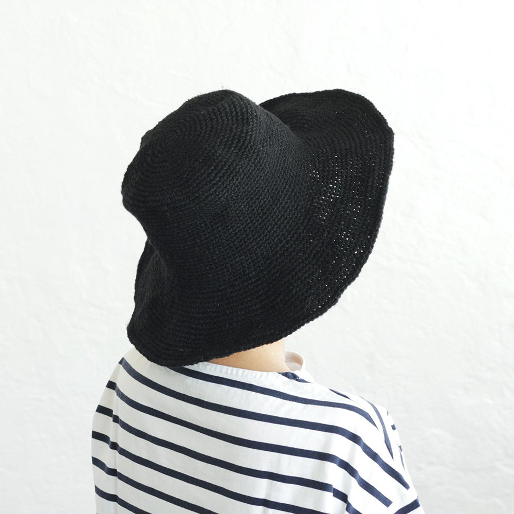 リネン クロシェニット つば広帽子 ワイヤーハット
