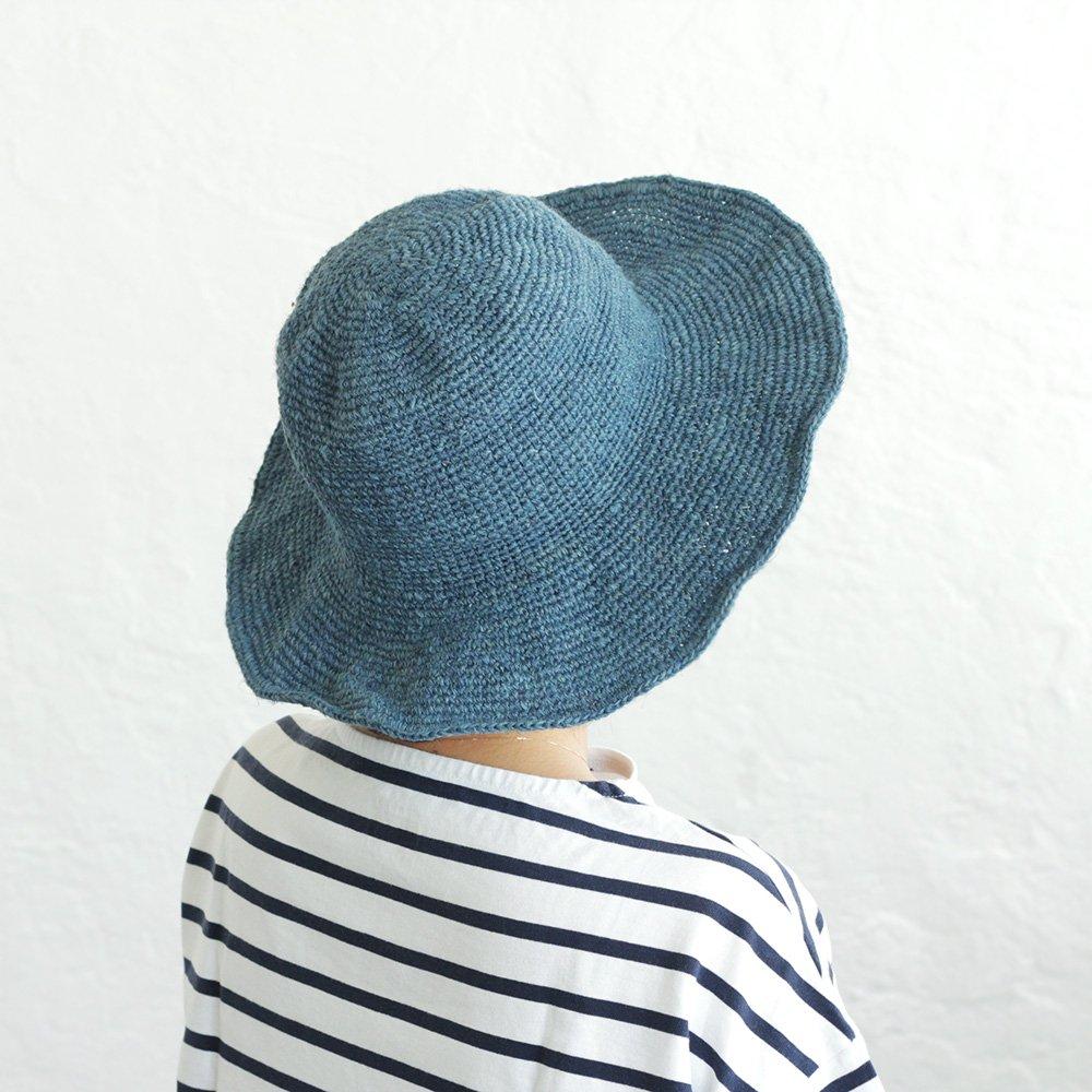 コリネン クロシェニット つば広帽子 ワイヤーハット