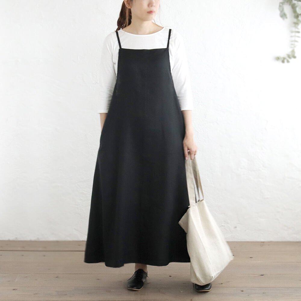 リネン サロペット リボンスカート