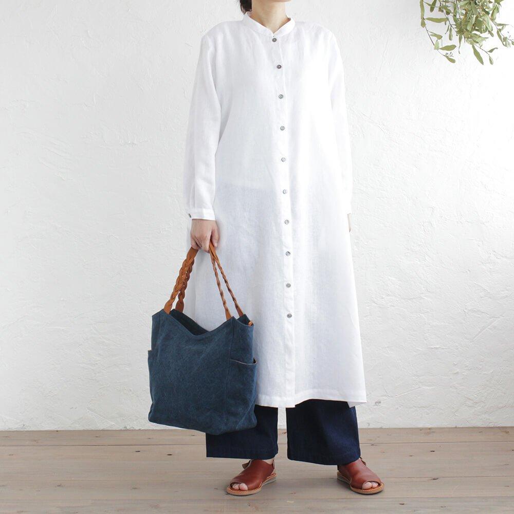 22オンス帆布と編み込みレザーショルダーのトートバッグ