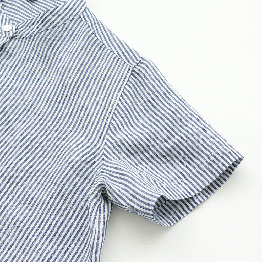 リネン スタンドカラー プルオーバーシャツ