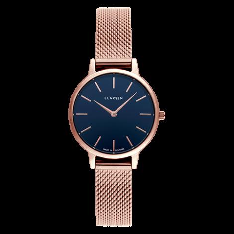 【雨の日も暑い日もさらっと快適に!メッシュモデル期間限定プライス】 CAROLINE (LW46) Rose gold bracelet / Deep ocean blue dial