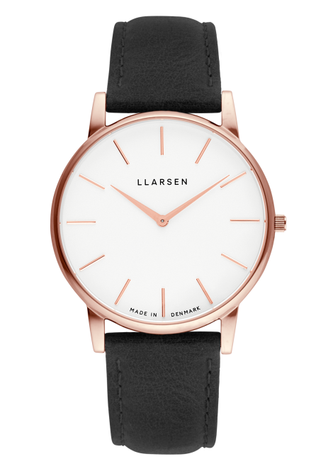 OLIVER (LW47) Rose gold with Coal leather strap