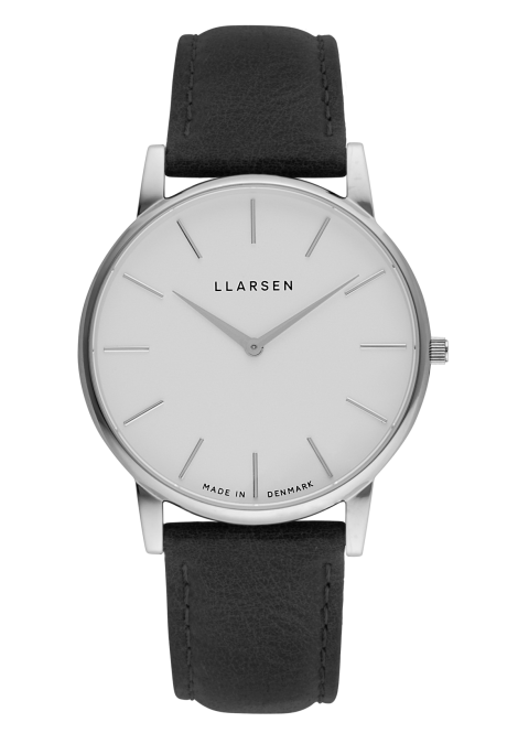 OLIVER (LW47) Steel with Coal leather strap
