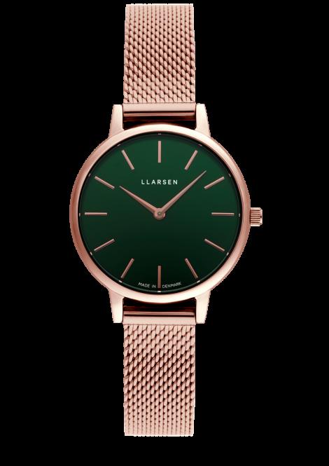 【雨の日も暑い日もさらっと快適に!メッシュモデル期間限定プライス】 CAROLINE (LW46) Rose gold bracelet / Forest dial