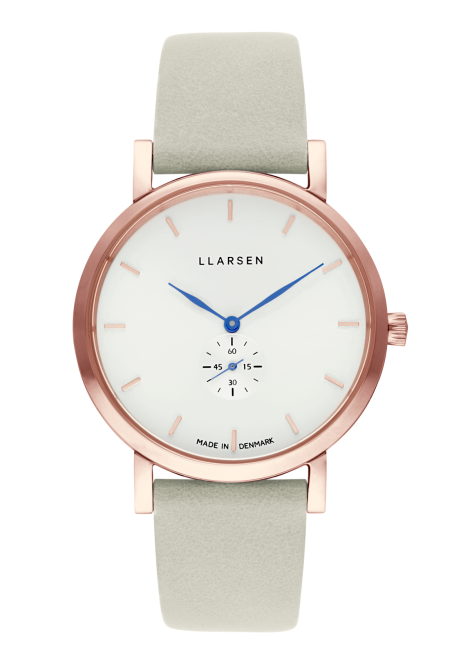 JOSEPHINE (LW44) Rose gold with Mint leather strap / Blue hands