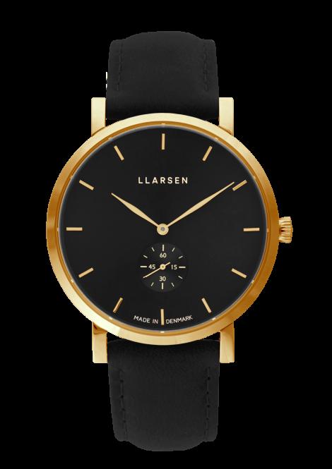 NIKOLAJ (LW43) Gold with Coal leather strap / Black dial