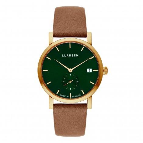 【秋を感じるカラーダイアルでシックに・期間限定プライス】 Helena (LW37) Gold with Camel leather strap / Forest dial