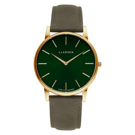 【再入荷予約受付中】WEB限定モデル  OLIVER (LW47) Gold with Forest leather strap / Forest dial