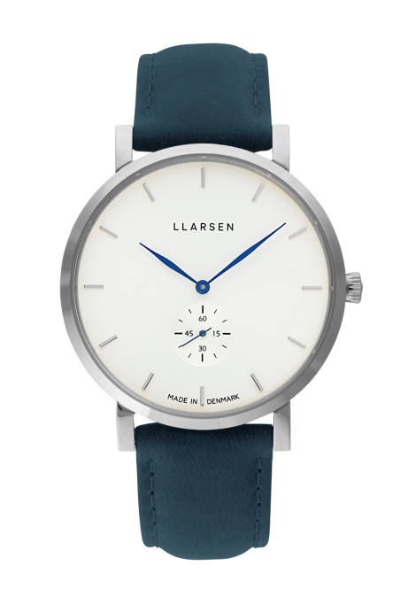 NIKOLAJ (LW43) Stainless with Ocean leather strap / Blue hands