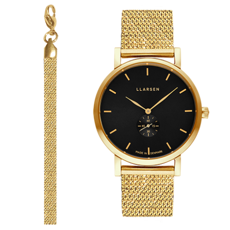 WEB限定モデル JOSEPHINE (LW44) Gold with gold treasure bracelet / Black dial アクセサリーブレスレット付