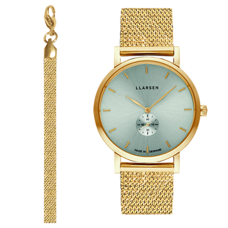 WEB限定モデル JOSEPHINE (LW44) Gold with gold treasure bracelet / Teal dial アクセサリーブレスレット付