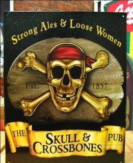ブリキ看板 THE SKULL&CROSSBONES PUB