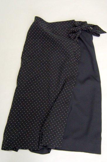 Michel Beaudouin ミッシェルボードワン キュプラレーヨンドットプリント 巻スカート