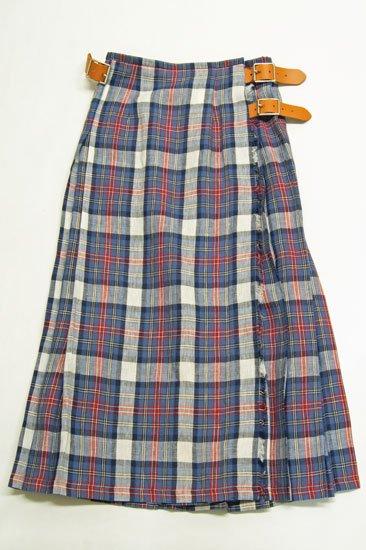 O'neil of Dubline オニールオブダブリン リネンタータンチェック プリーツスカート