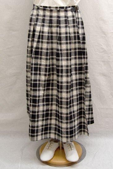 Vent d'ouest par Le minor ルミノア 綿麻キャンバスチェック 巻きスカート