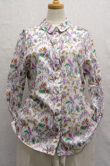 【30%OFF】Crespi クレスピ リバティプリント 長袖ラウンドカラーシャツ