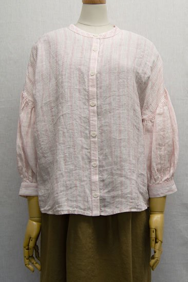 LIN'N LAUNDRY ランランドリー リネンストライプ バンドカラーシャツ