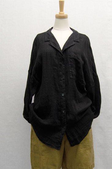 LIN'N LAUNDRY ランランドリー リネンガーゼ シャツジャケット ブラックサイズ38
