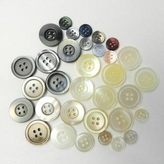 [33個入]タカセ・白・ピンク・黒色の貝調ボタン/11〜20mm/4穴/シャツ・ジャケットに最適