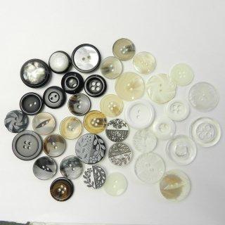[38個入]婦人ジャケット用ベージュ・黒色・彫刻ボタン/18〜23mm/2穴・4穴