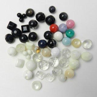 [48個入]アクセサリー作りに!ラインストーン入・円球・半球ボタンなど/8〜11.5mm/2穴・足つき