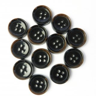 模様入こげ茶色系ボタン/15mm/4穴/スーツやジャケットの袖口・カーディガンに最適