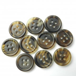 茶色系水牛ボタン/15mm/4穴/スーツやジャケットの袖口・カーディガンに最適