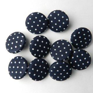 紺地に白水玉柄の平くるみボタン/15mm/足つき/ブラウスや子ども服に最適