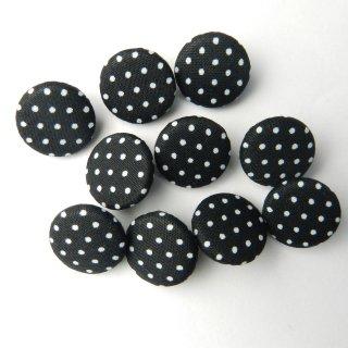 黒地に白水玉柄の平くるみボタン/15mm/足つき/ブラウスや子ども服に最適